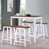 VidaXL Set masă și scaune de bar, 5 piese, lemn masiv