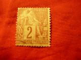 Timbru Franta- Emisiune gen. Colonii 1881 ,val.2C stamp., Stampilat
