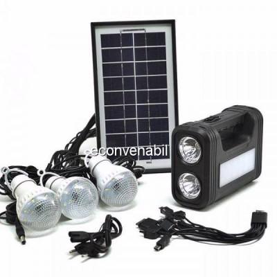 Kit Solar Lanterna LED, USB, 3 Becuri, 6V 4Ah GDLite GD8017 foto