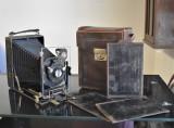 Camera / Aparat vechi fotografiat burduf Ernemann Carl Zeiss cu etui placi Mare