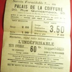 Invitatie- Reclama - Palatul Coafurilor Paris - interbelica ,cu tarifele respect
