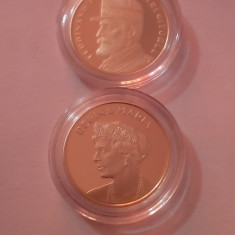 Lot 2 monede 50 bani proof Regele Ferdinand + Regina Maria