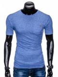 Cumpara ieftin Tricou pentru barbati, albastru, buzunar piept, slim fit, mulat pe corp, bumbac - S885