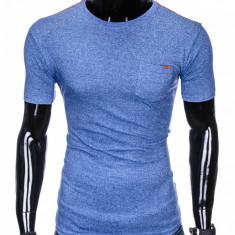 Tricou pentru barbati, albastru, buzunar piept, slim fit, mulat pe corp, bumbac - S885
