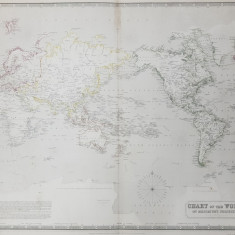 CHART OF THE WORLD ON MERCATOR 'S PROJECTION by A.K. JOHNSTON , EDITIE DE SECOL XIX