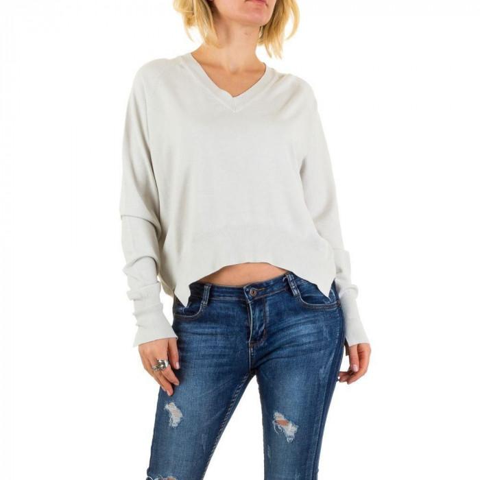 Pulover tricotat, de culoare gri, usor asimetric - Jcl Paris