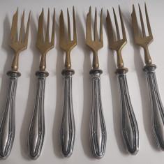 set sase furculite vechi cu manere de argint 800