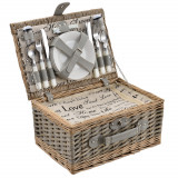 [casa.pro]® Cos picnic 4 persoane, 40 x 28 x 19 cm, rachita/poliuretan-imitatie piele/textil, gri HausGarden Leisure
