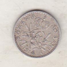 bnk mnd Romania 50 bani 1914 Bruxelles ,muchie dreapta , argint