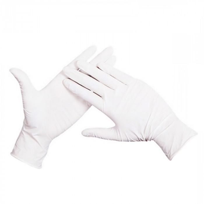Set 100 Manusi latex natural de unica folosinta, pudrate, alb, Ajsia Feel