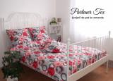 Lenjerie de pat,1Persoana,bumbac Ranforce creponat,Cercuri punctate rosii