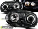Faruri sport tuning Angel Eyes VW Golf 4 look R32 negru cu lupa NOU