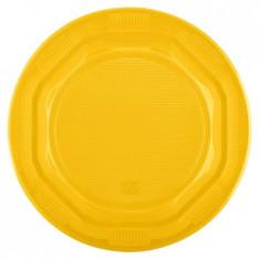 Set farfurii unica folosinta, galbene, 8 bucati, 26 cm