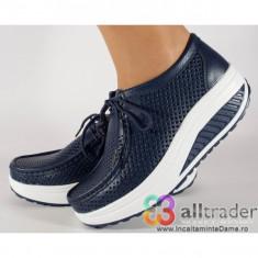 Pantofi bleumarini perforati piele naturala talpa convexa (cod AC020-43P)