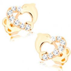 Cercei din aur 585 - inima formată din delfin si linie de diamante