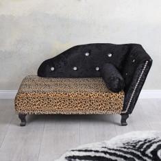 Canapea pentru animale din lemn masiv negru cu tapiterie neagra cu leopard
