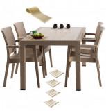 Set terasa INGLESA masa patrata CLASSI RATAN 90x90x75cm 4 scaune PARIS RATTAN polipropilen/fibra sticla culoare capucino,4 perne scaun,Traversa PANARI