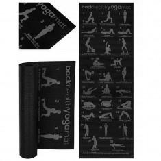 Saltea yoga, imprimeu 28 pozitii Pilates, antiderapanta, PVC moale