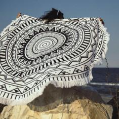 Prosop plaja rotund NEGRU 150 CM