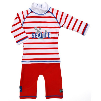 Costum de baie SeaLife red marime 98- 104 protectie UV Swimpy for Your BabyKids foto
