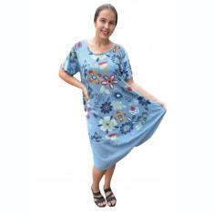 Rochie Agnette, imprimeu camp-flower, nuanta de albastru