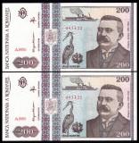 Romania, 200 lei 1992, UNC_serii consecutive