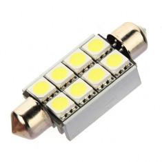 Bec LED SOFIT 42MM 8 SMD 5050 12V ALBA CANBUS CU RADIATOR COD: PT76 ManiaCars