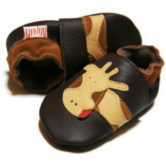 Pantofi cu talpa moale Liliputi Brown Giraffe
