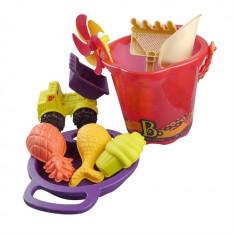 Galeata cu 9 jucarii de nisip mov B.Toys
