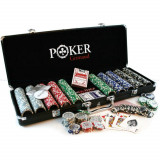 Set de poker 300 jetoane numerotate Grimaud in valiza neagra