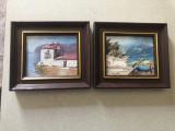 Pereche de tablouri miniaturale,pictura in ulei pe panza,rama din lemn
