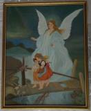 Reproducere tablou pictat in ulei cu ingerul ocrotitor al copiilor