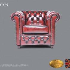 Fotoliu din piele naturală -Roșu Antique-Autentic Chesterfield Brand