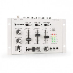 Auna TMX-2211, MKII, DJ-Mixer, 3/2 canale, crossfader, talkover, montare pe raft, alb