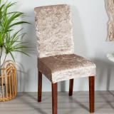 Set 4 huse scaun catifea, Bej