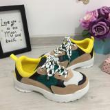 Cumpara ieftin Adidasi colorati bej verzi galbeni pentru copii baieti / fete 30