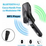 Cumpara ieftin V9 - Casca Telefon Mobil cu Bluetooth 4.2 Hands-Free, Modulator FM, USB Mp3 Player ONIMAG, 2 Porturi Incarcare Rapida, Afisaj Digital