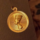 Medalion (pandantiv) rotund Nefertiti, aur 18K, 3.74 g