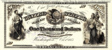 1000 dolari 1863 Reproducere Bancnota USD  ,   Dimensiune reala 1:1