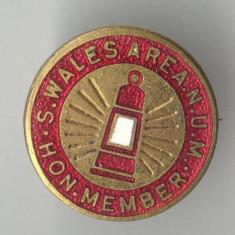 Insigna veche Anglia S.WALES AREA N.U.M. HON. MEMBER Membru de Onoare