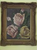 Cumpara ieftin Tablou '' Trandafiri '' , ulei pe placaj, Flori, Altul
