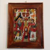 SFANTA TREIME-ICOANA PICTATA PE STICLA-ULEI+FOITA DE AUR-ARTIST IONELA VARGA