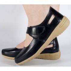 Pantofi platforma negri de vara perforati piele naturala (cod B044625)