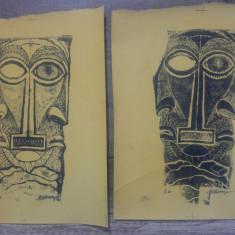 Masti/ litografii Marcel Chirnoaga, negativ si pozitiv, Arbori, Ulei, Altul