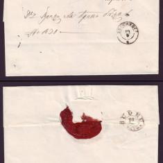 1864 Romania Scrisoare veche BUCURESCI - BUZAU 13 stampila agrafa BUDEU, sigiliu