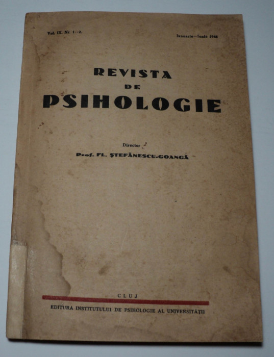 Revista de psihologie teoretica si aplicata, 1946, director Stefanescu Goanga