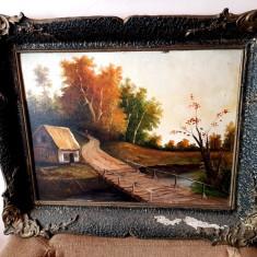 Tablou - pictura ulei pe carton - semnata - peisaj 1972, Natura statica, Realism