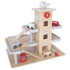 Parcare din lemn cu etaje si lift Ecotoys CA12104
