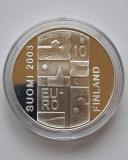 "Moneda de argint - 10 Euro Finlanda 2003 ""Anders Chydenius"", Europa"