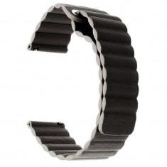Curea piele naturala, compatibila Huawei Watch GT, telescoape QR, Prindere Magnetica, 22mm, Negru